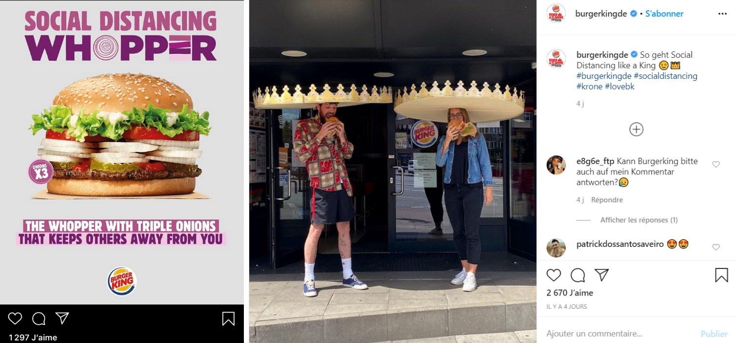 Burger King communication-restaurants-drive-livraison-burgers-réseaux sociaux-Instagram-Facebook-Twitter-confinement-covid-19-communication-promotion-mesures-street marketing-réouverture-posts-