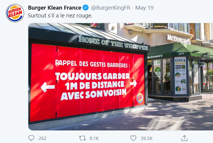 Burger King communication-restaurants-drive-livraison-burgers-réseaux sociaux-Instagram-Facebook-Twitter-confinement-covid-19-communication-promotion-mesures-street marketing-réouverture-tweet