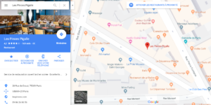 Google Maps restaurants-Google My Business-restaurants-clients-géolocalisation-Google Guide Connect-guide-avis-Facebook-Instagram-Les Pinces