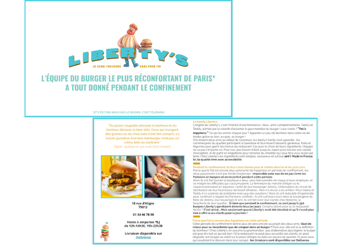 communiquer-reprise-restaurants-referencement local-avis clients-photos-réseaux sociaux-posts-stories-instagram-facebook-influenceurs-sponsorisation-médias-journalistes-Liberty's Burger